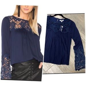 BB Dakota navy blue blouse